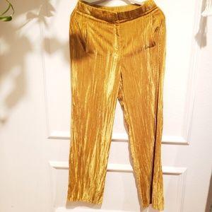 Topshop velvet wide leg pants